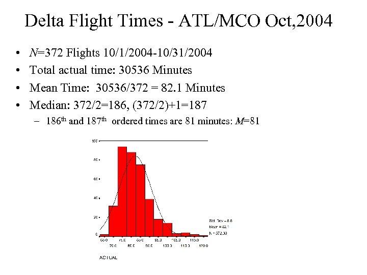 Delta Flight Times - ATL/MCO Oct, 2004 • • N=372 Flights 10/1/2004 -10/31/2004 Total