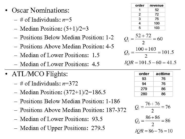 • Oscar Nominations: – – – # of Individuals: n=5 Median Position: (5+1)/2=3
