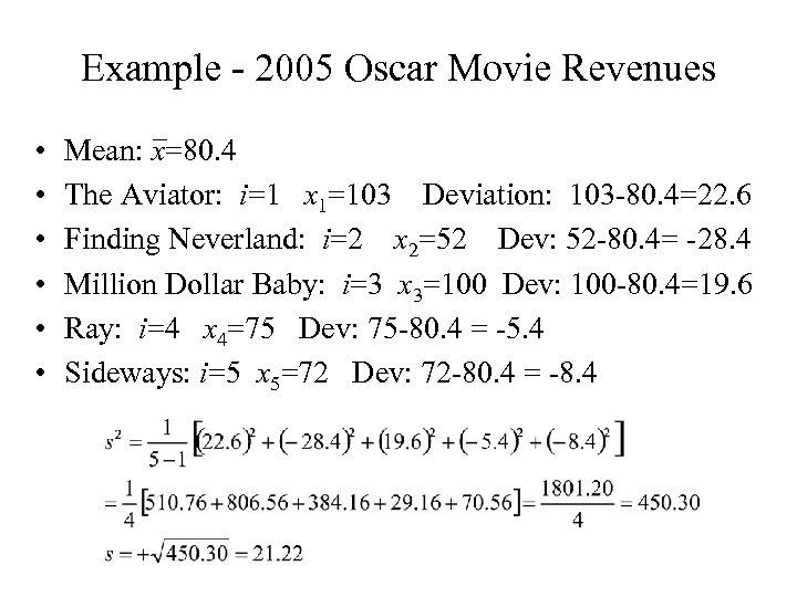 Example - 2005 Oscar Movie Revenues • • • Mean: x=80. 4 The Aviator: