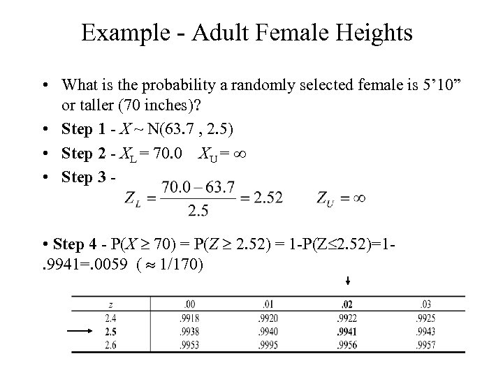 Example - Adult Female Heights • What is the probability a randomly selected female