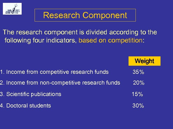 Research Component The research component is divided according to the following four indicators, based