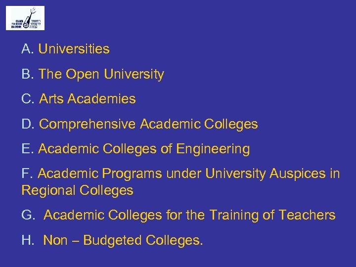 A. Universities B. The Open University C. Arts Academies D. Comprehensive Academic Colleges E.