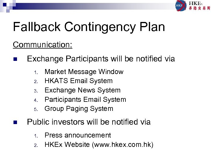 Fallback Contingency Plan Communication: n Exchange Participants will be notified via 1. 2. 3.