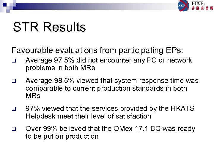 STR Results Favourable evaluations from participating EPs: q Average 97. 5% did not encounter