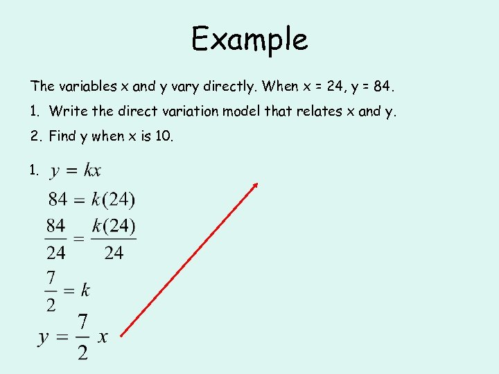 Example The variables x and y vary directly. When x = 24, y =