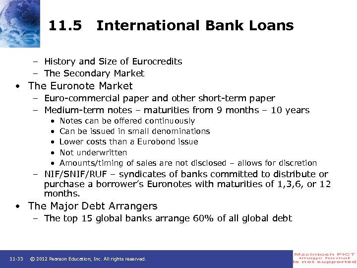 11. 5 International Bank Loans – History and Size of Eurocredits – The Secondary