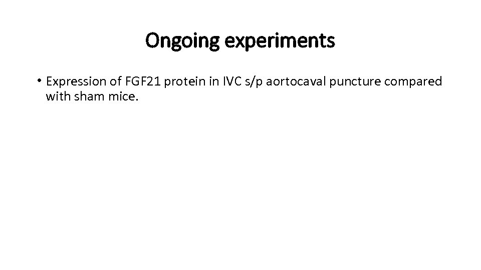 Ongoing experiments • Expression of FGF 21 protein in IVC s/p aortocaval puncture compared