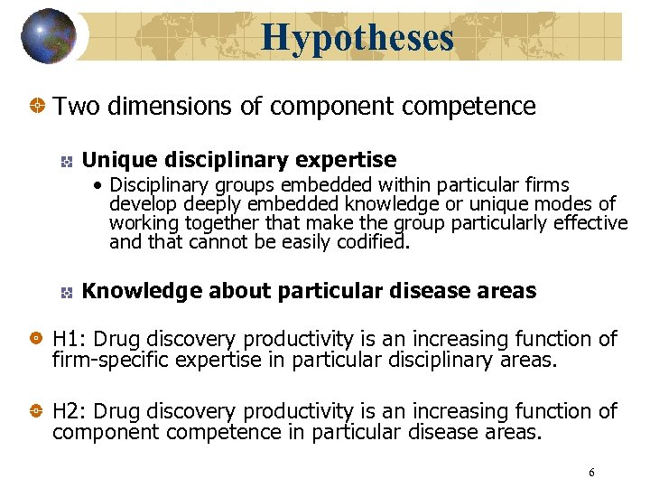 Hypotheses Two dimensions of component competence Unique disciplinary expertise • Disciplinary groups embedded within