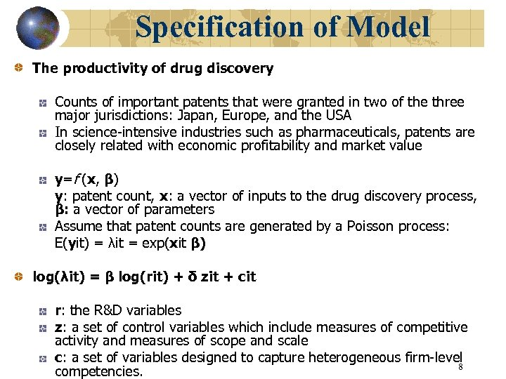 Specification of Model The productivity of drug discovery Counts of important patents that were