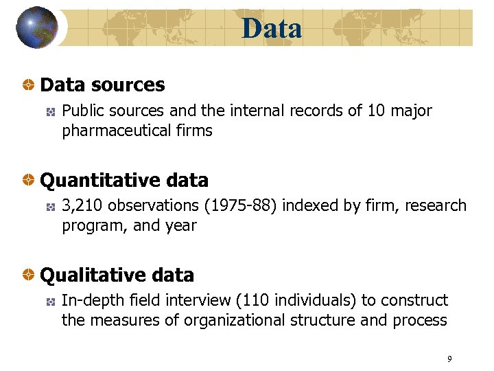 Data sources Public sources and the internal records of 10 major pharmaceutical firms Quantitative