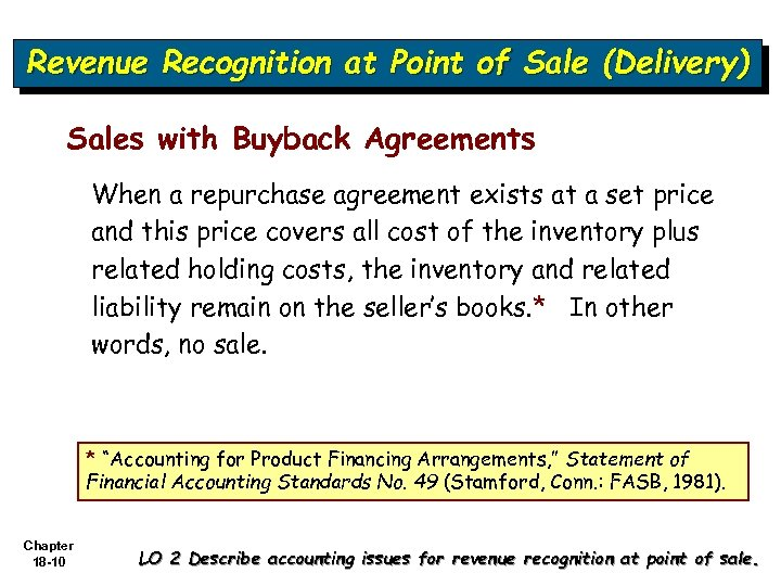 Revenue Recognition at Point of Sale (Delivery) Sales with Buyback Agreements When a repurchase