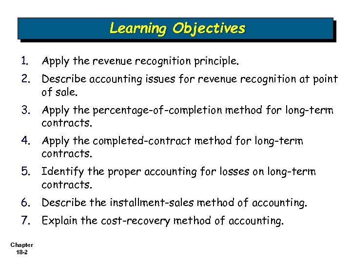 Learning Objectives 1. Apply the revenue recognition principle. 2. Describe accounting issues for revenue