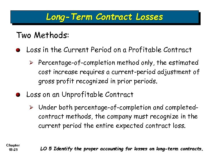 Long-Term Contract Losses Two Methods: Loss in the Current Period on a Profitable Contract