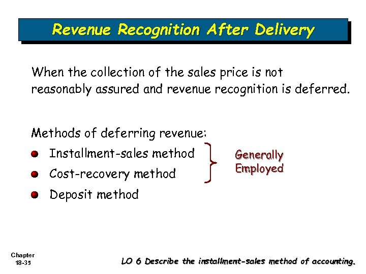 Revenue Recognition After Delivery When the collection of the sales price is not reasonably