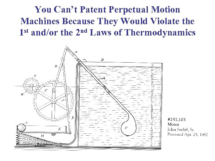 You Can't Patent Perpetual Motion Machines Because They Would Violate the 1 st and/or