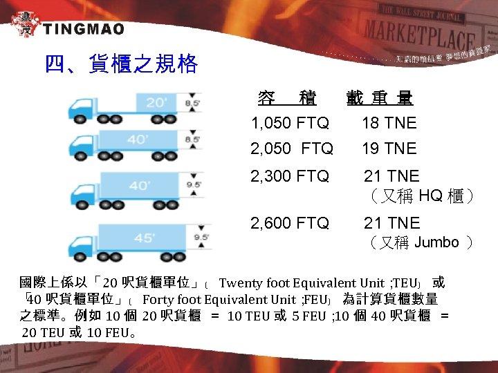 四、貨櫃之規格 容 積 載 重 量 1, 050 FTQ 18 TNE 2, 050 FTQ