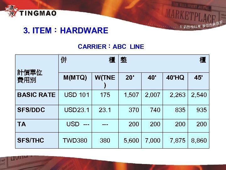 3. ITEM:HARDWARE CARRIER:ABC LINE 併 櫃 整 櫃 計價單位 費用別 M(MTQ) W(TNE ) BASIC