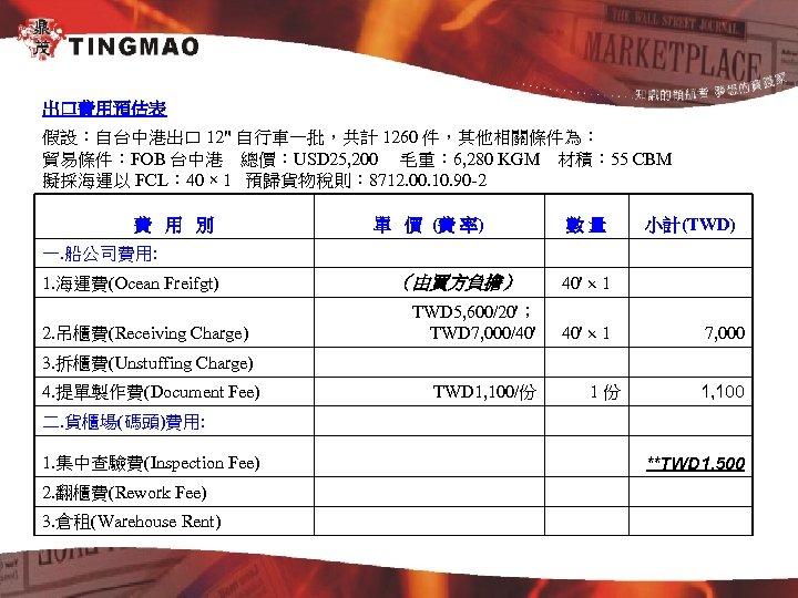 出口費用預估表 假設:自台中港出口 12