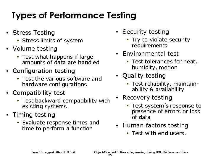 Types of Performance Testing • Security testing • Stress Testing • Try to violate