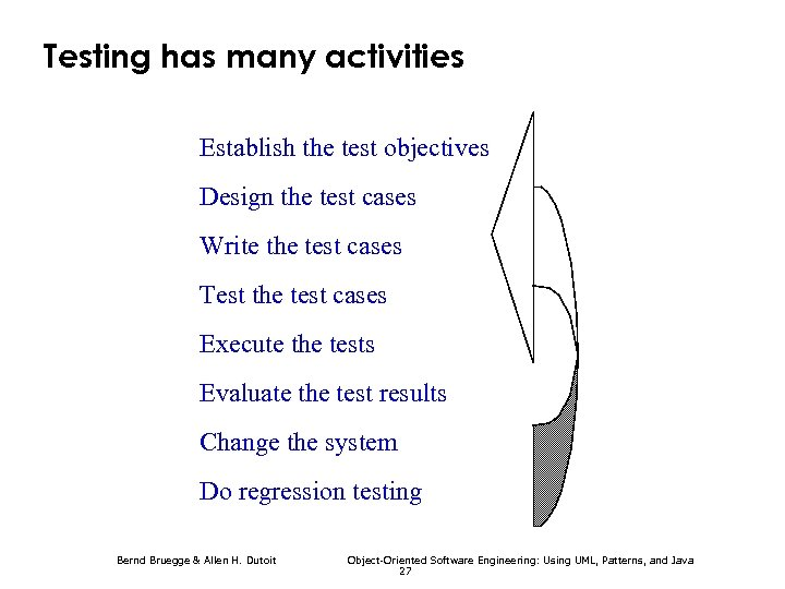 Testing has many activities Establish the test objectives Design the test cases Write the