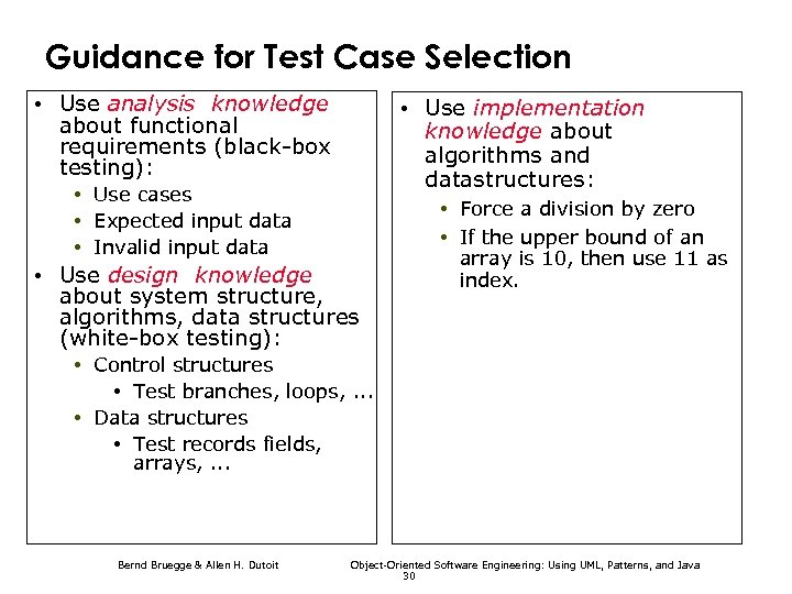 Guidance for Test Case Selection • Use analysis knowledge about functional requirements (black-box testing):