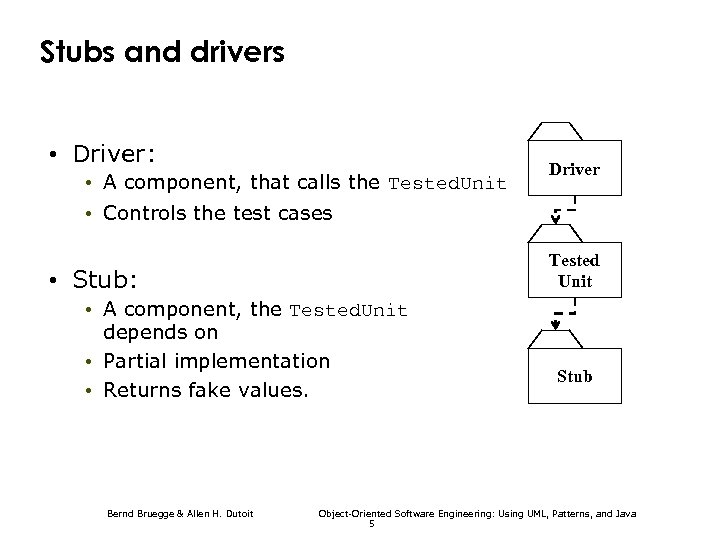 Stubs and drivers • Driver: • A component, that calls the Tested. Unit Driver