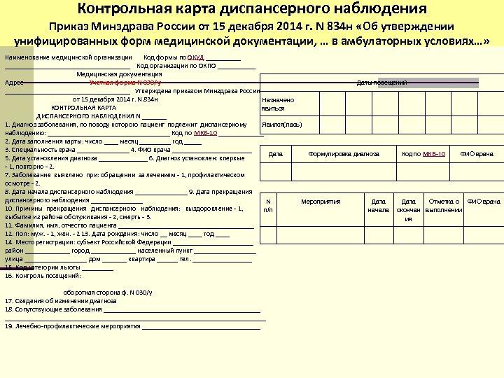 Контрольная карта диспансерного наблюдения Приказ Минздрава России от 15 декабря 2014 г. N 834