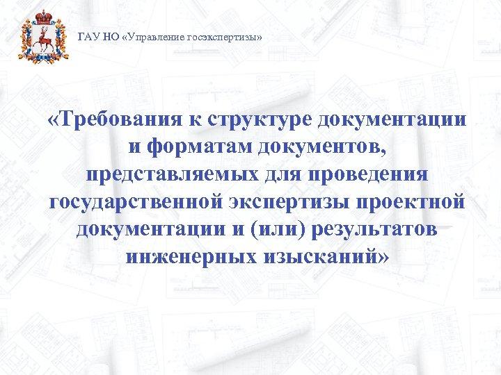 ГАУ НО «Управление госэкспертизы» «Требования к структуре документации и форматам документов, представляемых для проведения