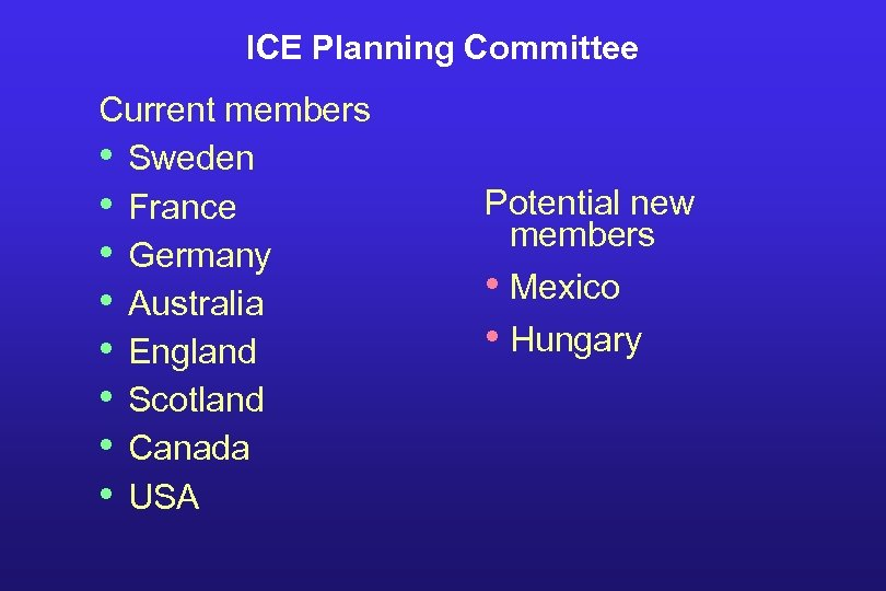 ICE Planning Committee Current members • Sweden • France • Germany • Australia •