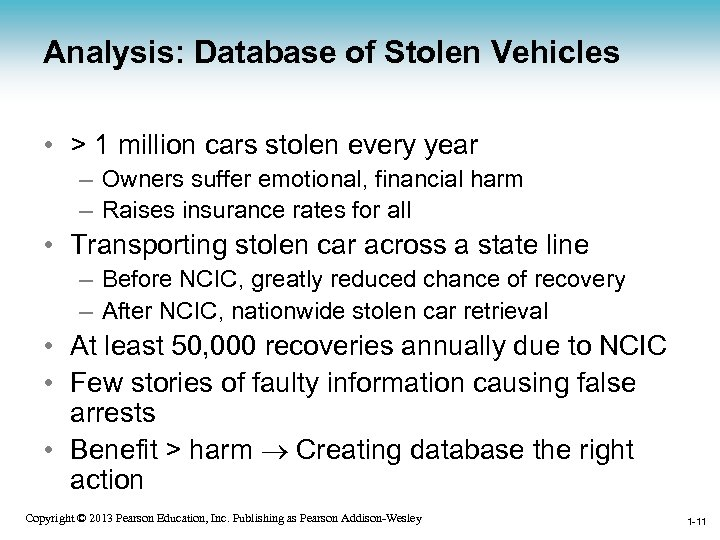 Analysis: Database of Stolen Vehicles • > 1 million cars stolen every year –