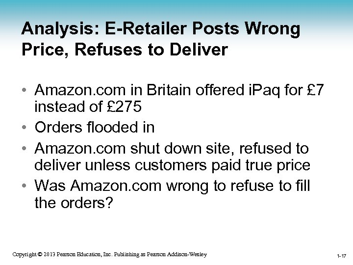 Analysis: E-Retailer Posts Wrong Price, Refuses to Deliver • Amazon. com in Britain offered