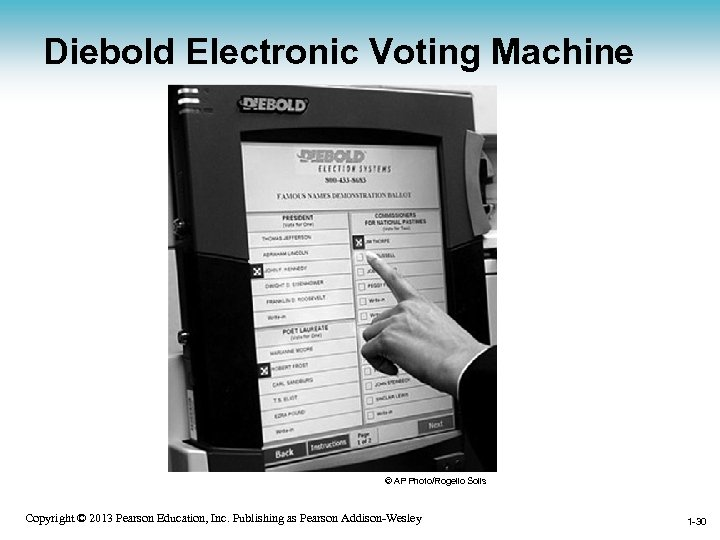 Diebold Electronic Voting Machine © AP Photo/Rogelio Solis Copyright © 2013 Pearson Education, Inc.