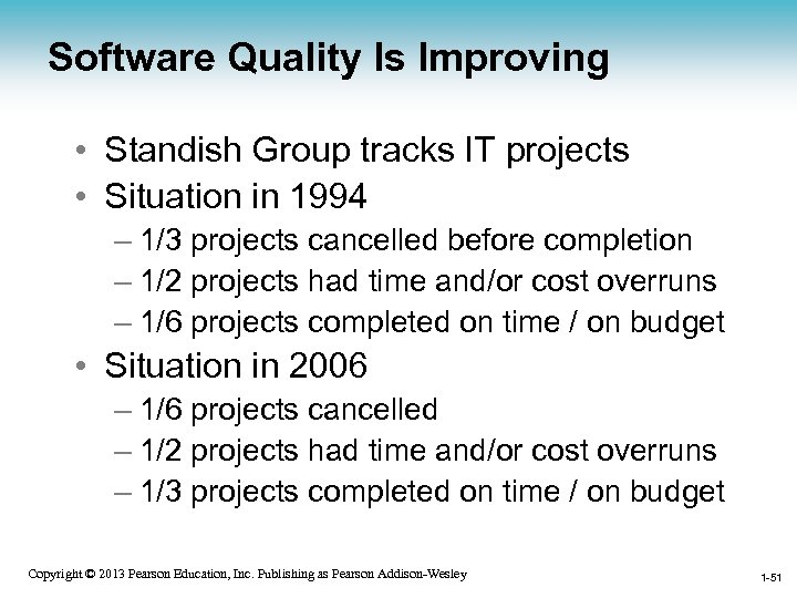 Software Quality Is Improving • Standish Group tracks IT projects • Situation in 1994