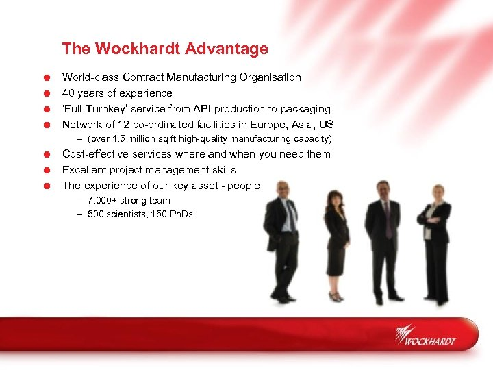 The Wockhardt Advantage = = World-class Contract Manufacturing Organisation 40 years of experience 'Full-Turnkey'