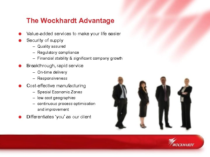 The Wockhardt Advantage = Value-added services to make your life easier = Security of