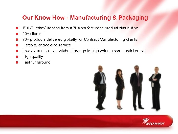 Our Know How - Manufacturing & Packaging = = = = 'Full-Turnkey' service from