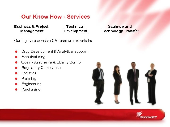 Our Know How - Services Business & Project Management Technical Development Our highly responsive