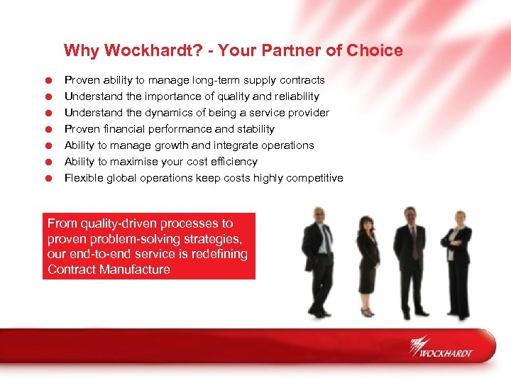Why Wockhardt? - Your Partner of Choice = = = = Proven ability to