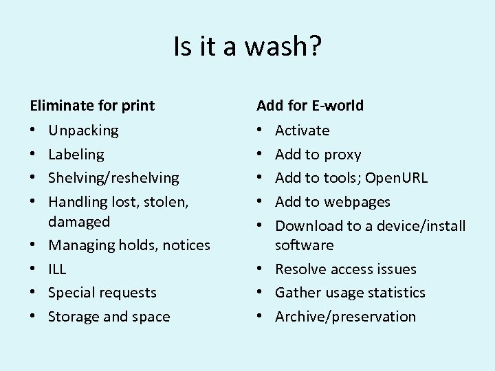 Is it a wash? Eliminate for print • • Unpacking Labeling Shelving/reshelving Handling lost,