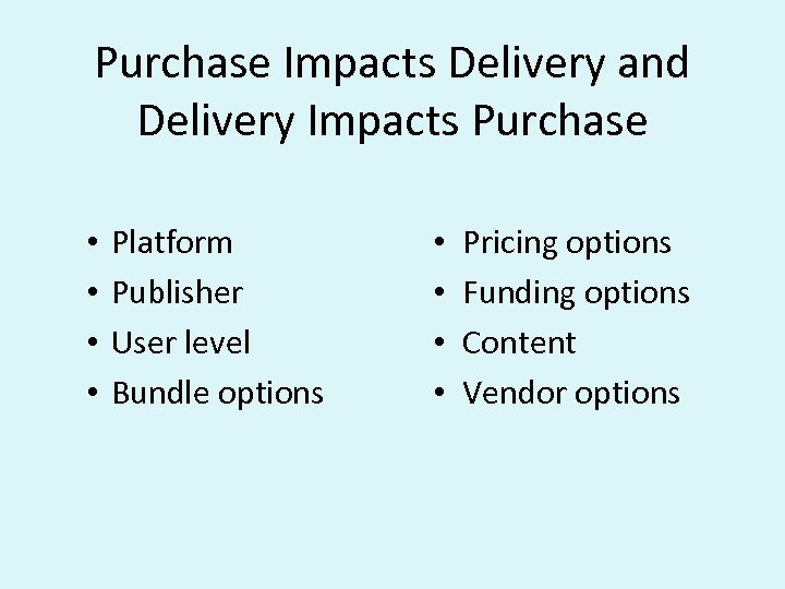 Purchase Impacts Delivery and Delivery Impacts Purchase • • Platform Publisher User level Bundle