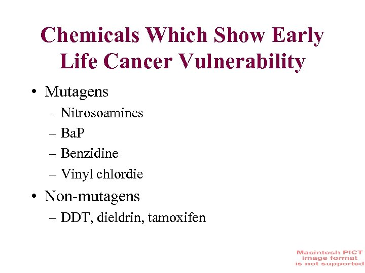 Chemicals Which Show Early Life Cancer Vulnerability • Mutagens – Nitrosoamines – Ba. P