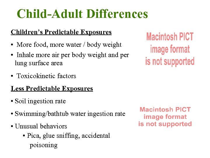 Child-Adult Differences Children's Predictable Exposures • More food, more water / body weight •