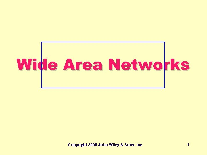 Wide Area Networks Copyright 2005 John Wiley & Sons, Inc 1