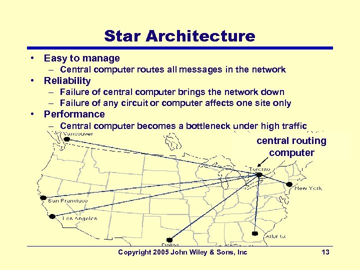 Star Architecture • Easy to manage – Central computer routes all messages in the