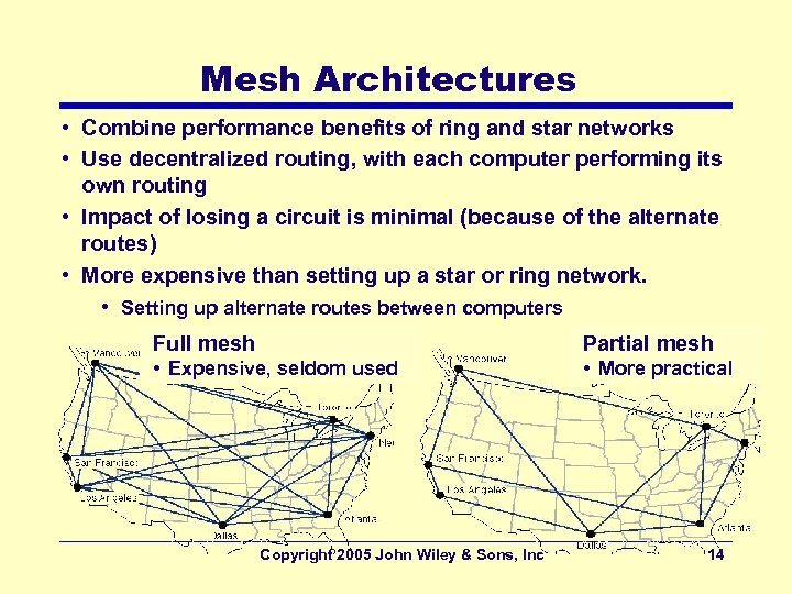 Mesh Architectures • Combine performance benefits of ring and star networks • Use decentralized