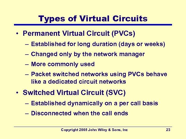 Types of Virtual Circuits • Permanent Virtual Circuit (PVCs) – Established for long duration