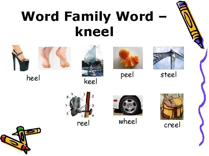 Word Family Word – kneel heel keel reel peel wheel steel creel