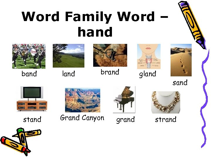 Word Family Word – hand brand band land stand Grand Canyon grand gland strand