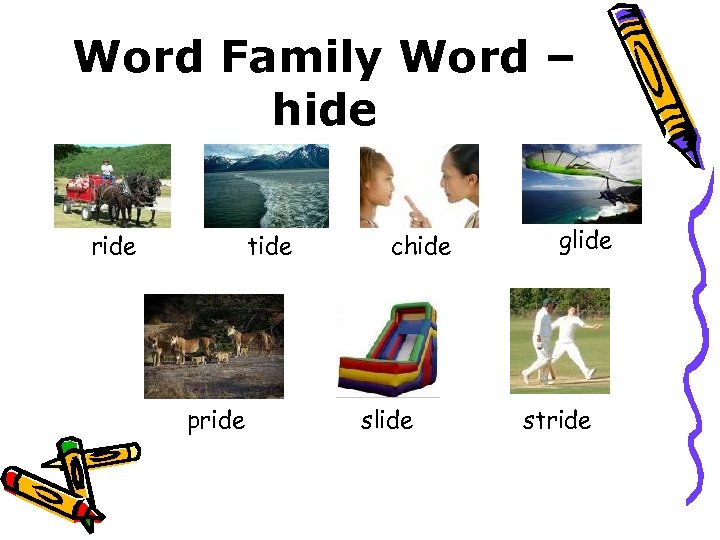 Word Family Word – hide ride tide pride chide slide glide stride