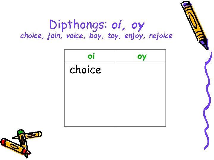 Dipthongs: oi, oy choice, join, voice, boy, toy, enjoy, rejoice oi choice oy